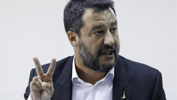 ep 15 august 2019 italy castel volturno italys interior minister and deputy prime minister matteo salvini deliversspeech duringpress conference after the national committee for order and public safety photo fabio sassozuma wiredpa