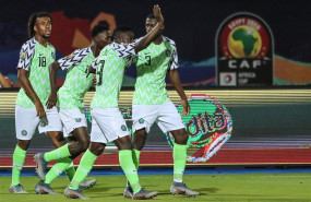 ep 17 july 2019 egypt cairo nigeria players celebrate scoring their first goal during the 2019 africa cup of nations third place final soccer match between tunisia and nigeria at the al-salam stadium photo omar zoheirydpa