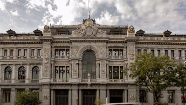 ep fachada del edificio del banco de espana situada en la confluencia del paseo del prado y la