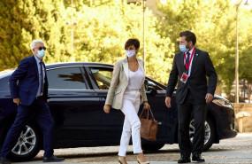 ep la ministra de politica territorial isabel rodriguez a su llegada a la plaza mayor de salamanca