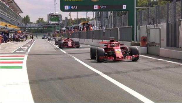 Kimi Raikkonen y Sebastian Vettel ambos de Ferrari en el circuito de Monza@F1